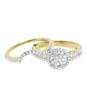 14k Yellow Gold Ladies Round Diamond Double Halo Bridal Engagement Ring Set (1 ct)