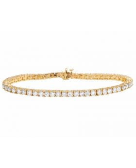 14K Yellow Gold One Row Tennis Diamond Bracelet 12 ct
