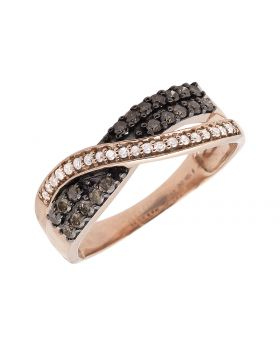 10K Rose Gold Criss Cross Brown and White Diamond Wedding Band Ring 0.49ct