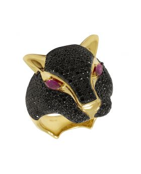 14K Yellow Gold Panther Black AAA Diamond Pinky Ring 4.25CT