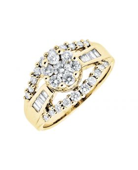 10K Yellow Gold Baguette Cut Round Diamond Engagement Wedding Cocktail Ring 1.0Ct