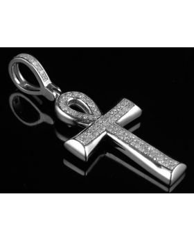 10K White Gold Ankh Cross Micro Pave Diamond Pendant 0.33ct