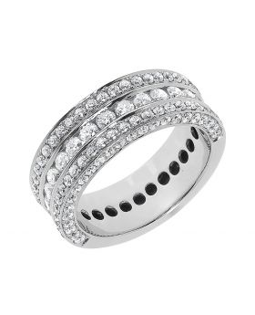 Three Row Diamond Band in 14k White Gold (2 ct)