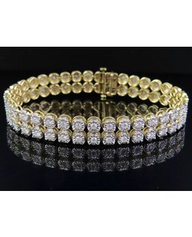 "10K Yellow Gold 2 Row Real Diamond Bracelet 5.0Ct 8"" Inches"