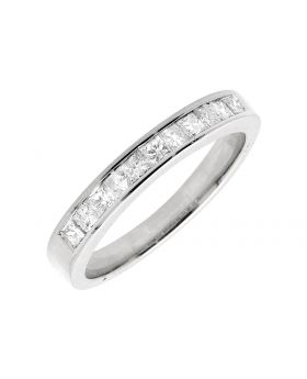 14K White Gold One Row Princess Diamond Engagement Wedding Ring Band 0.50ct.