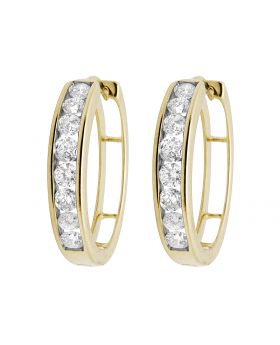 10K Yellow Gold Real Diamonds Channel Hoop Earrings 1.0ct
