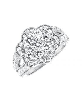 White Gold Flower Cluster Diamond Engagement Cocktail Ring (2.0ct)