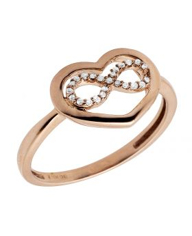 10K Rose Gold Infinity Heart Love Real Diamonds Ladies Ring 0.05ct