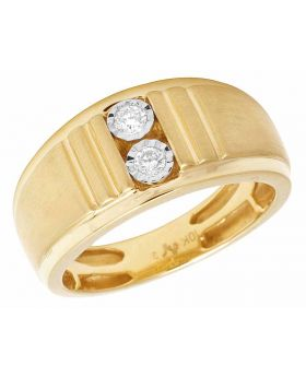 10K Yellow Gold Real 2 Stone Diamond Men's Band Ring .15ct 10mm