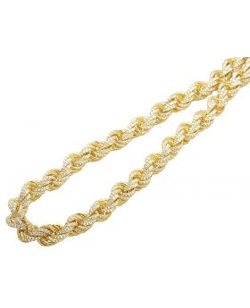 Simulated Diamond Rope Necklace In Yellow Gold Finish 11MM 28""