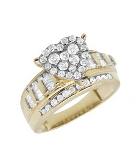 10K Yellow Gold Heart Cluster Real Diamond Engagement Ring 1.0ct