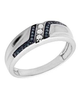 Men's Real Irradiated Blue Diamonds White Gold Finish Wedding band Ring 0.20ct