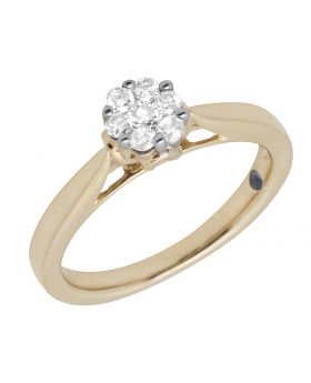 Ladies 10K Yellow Gold Solitaire Cluster Real Diamond Ring 0.50ct