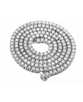 """10K White Gold Prong Set 1 Row Real Diamond 5MM Tennis Chain Necklace 37CT 28"""""""