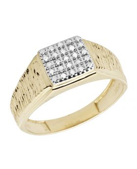 Men's 10K Yellow Gold Real Diamond Square Pinky Engagement Ring 0.18ct