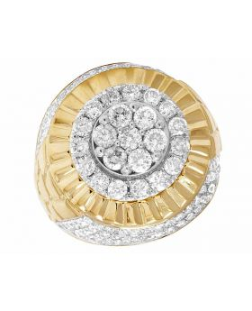 10K Yellow Gold 3D Square Real Diamond Men's Pinky Ring 3.2ct 23MM