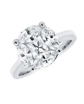 Marquise and Princess Diamond Solitaire Look Engagement Ring 2ct