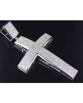 10K White Gold Genuine Diamond Cross Pendant (2.15CT) 3""
