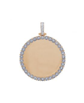 10K Rose Gold Real Diamond Fanook Memory Photo Pendant 0.65 CT 2.6""