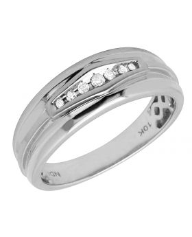10K White Gold Men's Real Diamond Fit Band Ring 0.25ct
