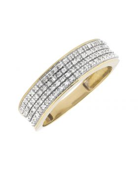 Men's Yellow Gold Pave Round Diamond Band Ring (0.40ct)