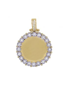 Yellow Gold Memory Frame Medallion Illusion Set Photo Pendant 0.7 CT