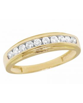 Men's 14K Yellow Gold Real Diamond One Row Channel Wedding Band Ring 7/10 CT 5MM