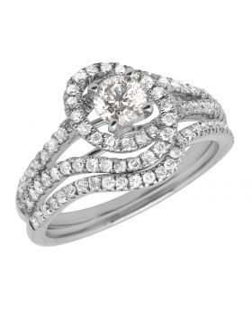 Ladies 14K White Gold Solitaire Engagement Diamond Ring Set 1.0ct
