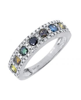 14k White Gold Multi Color Fancy Diamond 5mm Fashion Band Ring (0.90 ct)