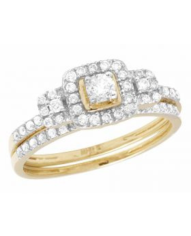 10K Yellow Gold Real Diamond Halo 2 Piece Engagement Ring Set 0.55 CT