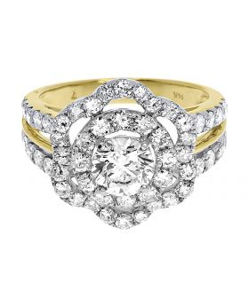 14k Yellow Gold Ladies Round Diamond Solitaire Flower Engagement Ring (2.85 ct)