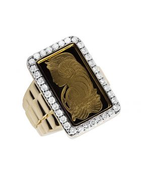 24K Yellow Gold Lady Fortuna Diamond Presidential Ring 1.50 Ct 27MM