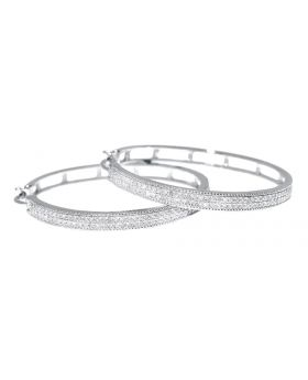 30mm Pave Diamond Hoops in White Gold (0.75 ct)