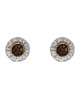 Red/White Diamond Pave Earrings in 10k Rose Gold, 7mm (0.25ct)