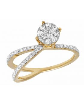 14K Yellow Gold Real Diamond Fancy Cocktail Engagement Ring .45ct 7mm