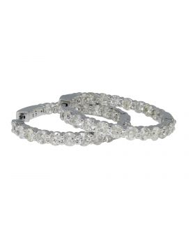Round Cut In and Out Diamond Hoop Earrings (5.56 Ct)