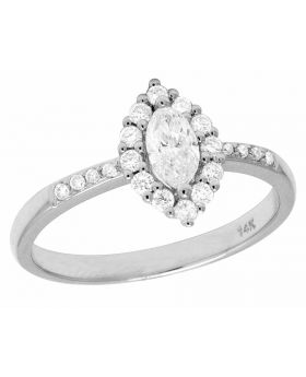 14K White Gold Real Marquise Solitaire Diamond Engagement Ring .75CT