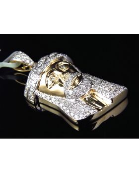 Solid Jesus Piece Diamond Pendant in 10K Yellow Gold 2.1Ct