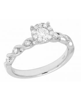 14K White Gold Real Diamond Swirl Twisted Engagement Ring .50ct