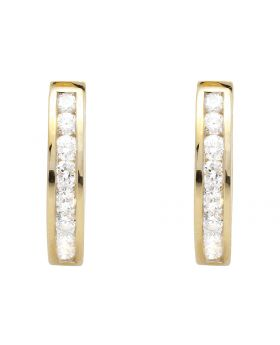 Ladies 14K Yellow Gold One Row Channel Set Diamonds Huggie Hoop Earrings (0.50ct.)