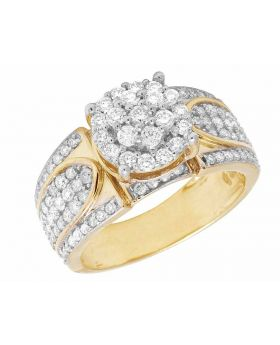 Ladies 10K Yellow Gold Real Diamond Round Cluster Engagement Ring 1.60 ct