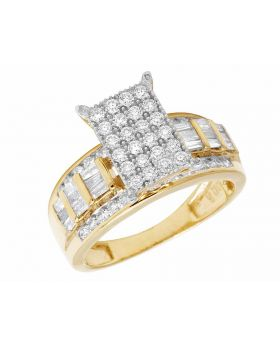 10K Yellow Gold Real Baguette Diamond Cinderella Engagement Ring 1.6CT