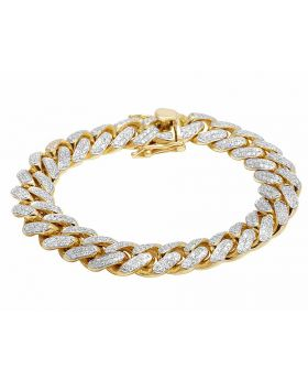 Solid 10K Yellow Gold Real Diamond Miami Cuban Men's Bracelet 6.75Ct 9""