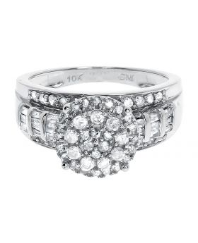 10k White Gold Cluster Diamond Engagement Ring (0.95 ct)
