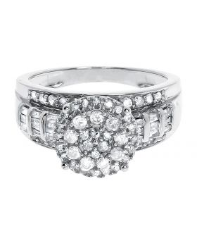 Ladies .925 Sterling Silver Cluster Round Diamonds Engagement Bridal Ring 1ct