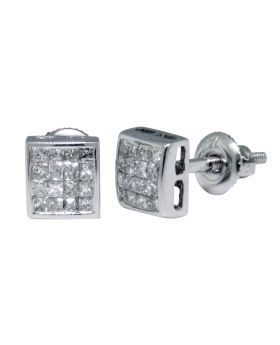 Princess Cut Invisible Set Studs in 14k White Gold (.33 Ct)
