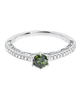14k White Gold Green Round Solitaire Diamond Engagement Ring (0.78 ct)