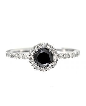 Black Diamond Solitaire Ring in white Gold (0.87 ct)