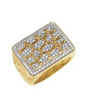 10K Yellow Gold Mens XL Nugget Pinky Ring 1ct 18mm
