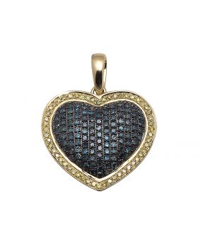 Blue Canary Diamond Puffed Heart Pendant (1.2 ct)